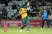 Jake Ball of Nottinghamshire Outlaws hits out during the Vitality T20 Blast North Group match between Nottinghamshire County Cricket Club and Worcestershire County Cricket Club at Trent Bridge, West Bridgford, United Kingdon on 18 July 2019.