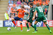 Luton Town defender Glen Rea (16)  and Plymouth Argyle midfielder Graham Carey (10) during the EFL Sky Bet League 2 match between Plymouth Argyle and Luton Town at Home Park, Plymouth, England on 6 August 2016. Photo by Graham Hunt.