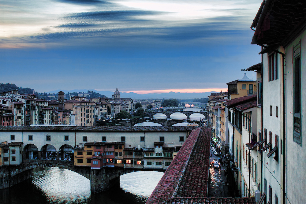 View of the Ponte Vecchio from the second floor of the Galileo Museum..http://www.museogalileo.it/en/visit.html