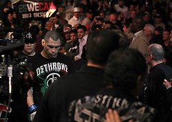 October 23, 2010; Anaheim, CA; USA; Cain Velasquez makes his way to the octagon for his UFC Heavyweight Championship bout against Brock Lesnar at UFC 121 at the Honda Center in Anaheim, CA.   Velasquez won via 1st round TKO.