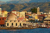 Grece, Crete, Chania (La canée), le port Venitien et la mosquée des Janissaires // Greece, Crete island, Chania, Venetian port and Turkish mosque