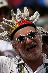 30 April 2006. New Orleans, Louisiana. Jazzfest . <br /> The first New Orleans Jazz and Heritage festival following the disaster of Hurricane Katrina. Fans at the Acura stage.<br /> Photo ©Charlie Varley/varleypix.com<br /> All rights reserved.