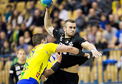Vid Poteko of RK Celje PL vs Niko Medved of RK Gorenje during handball match between RK Celje Pivovarna Lasko and RK Gorenje Velenje in Eighth Final Round of Slovenian Cup 2015/16, on December 10, 2015 in Arena Zlatorog, Celje, Slovenia. Photo by Vid Ponikvar / Sportida