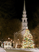 Christmas tree and United Church of Chirst at Central Square, Keene, New Hampshire.