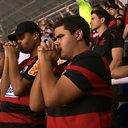 Flamengo fans in prayer during their teams match against Palmeiras in the Futebol Brasileirao  League match at Estadio Olímpico Joao Havelange, Rio de Janeiro, Palmeiras won the match 3-1. Rio de Janeiro,  Brazil. 25th September 2010. Photo Tim Clayton