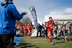 Bristol Rugby Winger David Lemi (capt) leads his side out for kick off - Mandatory byline: Rogan Thomson/JMP - 01/05/2016 - RUGBY UNION - Goldington Road - Bedford, England - Bedford Blues v Bristol Rugby - Greene King IPA Championship Play Off Semi Final 1st Leg.