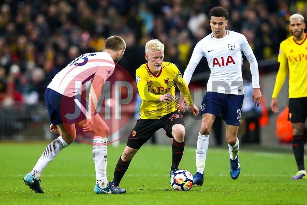 Will Hughes of Watford goes past Dele Alli of Tottenham Hotspur and takes on Eric Dier of Tottenham Hotspur - Mandatory by-line: Robbie Stephenson/JMP - 30/04/2018 - FOOTBALL - Wembley Stadium - London, England - Tottenham Hotspur v Watford - Premier League