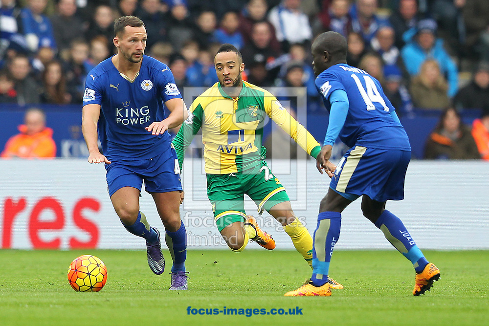 Nathan Redmond of Norwich and Danny Drinkwater of Leicester City in action during the Barclays Premier League match at the King Power Stadium, Leicester<br /> Picture by Paul Chesterton/Focus Images Ltd +44 7904 640267<br /> 27/02/2016