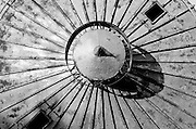 The top of a grain silo appears as a radiating sun in this abstract view, Buda Texas, June 1 2008.