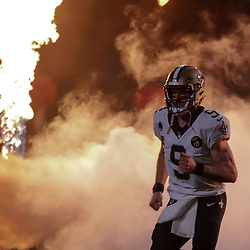 Oct 8, 2018; New Orleans, LA, USA; New Orleans Saints quarterback Drew Brees (9) runs out for introductions during before kickoff against the Washington Redskins at the Mercedes-Benz Superdome. Mandatory Credit: Derick E. Hingle-USA TODAY Sports