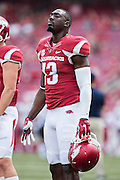 FAYETTEVILLE, AR - SEPTEMBER 5:  Davyon McKinney #13 of the Arkansas Razorbacks warms up before a game against the UTEP Miners at Razorback Stadium on September 5, 2015 in Fayetteville, Arkansas.  The Razorbacks defeated the Miners 48-13.  (Photo by Wesley Hitt/Getty Images) *** Local Caption *** Davyon McKinney