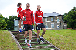 CARDIFF, WALES - Wednesday, June 1, 2016: Wales' Chris Gunter, Aaron Ramsey and Ethan Ampadu during a training session at the Vale Resort Hotel ahead of the International Friendly match against Sweden. (Pic by David Rawcliffe/Propaganda)