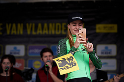 Riejanne Markus (NED) records the crowds at Ronde van Vlaanderen - Elite Women Team Presentation 2018 on March 31, 2018. Photo by Sean Robinson/Velofocus.com