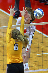 23 November 2017:  Ella Francis strikes over blocker Lizzie Zaleski during a college women's volleyball match between the Valparaiso Crusaders and the Illinois State Redbirds in the Missouri Valley Conference Tournament at Redbird Arena in Normal IL (Photo by Alan Look)