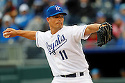 Kansas City Royals pitcher Jeremy Guthrie throws to home plate in the first inning of a baseball game against the Chicago White Sox at Kauffman Stadium in Kansas City, Mo., Saturday, May 4, 2013.  (AP Photo/Colin E. Braley).