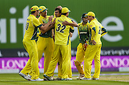 Ashton Agar of Australia (centre) is congratulated by his team mates after taking the wicket of  Jason Roy of England (not shown) during the 3rd One Day International match at Old Trafford Cricket Ground, Stretford<br /> Picture by Andy Kearns/Focus Images Ltd 0781 864 4264<br /> 08/09/2015