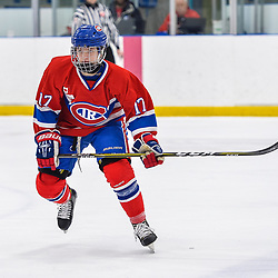 OAKVILLE, ON  - FEB 23,  2018: Ontario Junior Hockey League game between the Oakville Blades and the Toronto Jr. Canadiens, Artur Terchiyev #17 of the Toronto Jr. Canadiens follows the play during the third period.<br /> (Photo by Ryan McCullough / OJHL Images)