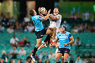SYDNEY, NSW - MARCH 23: Crusaders player David Havili (15) and Waratahs player Bernard Foley (10) go up for the ball at round 6 of Super Rugby between NSW Waratahs and Crusaders on March 23, 2019 at The Sydney Cricket Ground, NSW. (Photo by Speed Media/Icon Sportswire)