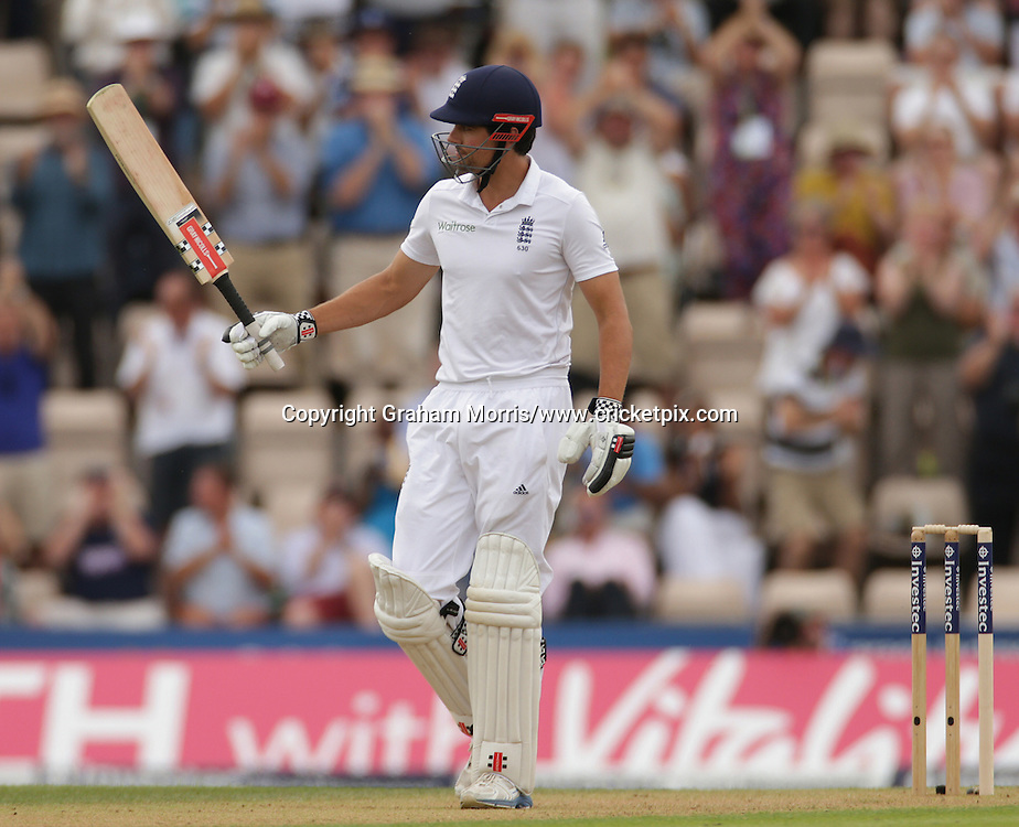 Alastair Cook reaches his half-century during the third Investec Test Match between England and India at the Ageas Bowl, Southampton. Photo: Graham Morris/www.cricketpix.com (Tel: +44 (0)20 8969 4192; Email: graham@cricketpix.com) 27/07/14