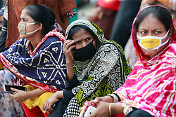 Bangladeshi Garment workers block a road demanding their due wages during the nationwide lockdown amid concerns over the COVID-19 outbreak, in Dhaka, Bangladesh, April 16, 2020. Apparel workers took to the streets in protest- risking exposure to Covid-19 - demanding to know when they would receive their due wages. Photo by Suvra Kanti Das/ABACAPRESS.COM