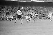 Dublin player kicks the ball down field during the All Ireland Senior Gaelic Football Championship Final Dublin V Galway at Croke Park on the 22nd September 1974. Dublin 0-14 Galway 1-06.
