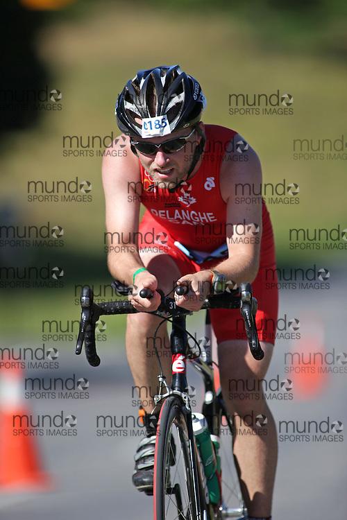 (Ottawa, Canada---10 August 2013)  Sean Delanghe (185)  of Canada (CAN) competing in the 25-29 Male AG International Triathlon Union 2013 World Duathlon Championships (10 km run- 40 km bike- 5km run).