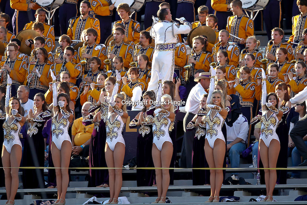 October 16, 2010; Baton Rouge, LA, USA; The LSU Tigers Band performs in the stands during warm ups prior to kickoff against the McNeese State Cowboys at Tiger Stadium. LSU defeated McNeese State 32-10. Mandatory Credit: Derick E. Hingle