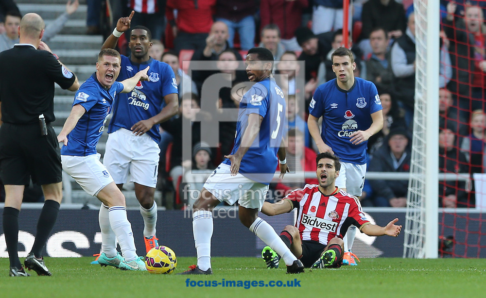 Jordi Gomez (sat on floor) of Sunderland appeals for a penalty during the Barclays Premier League match at the Stadium Of Light, Sunderland<br /> Picture by Simon Moore/Focus Images Ltd 07807 671782<br /> 09/11/2014