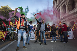 October 22, 2016 - Rome, Italy - Thousands of people shout slogans and wave flags as they take to the streets to protest Prime Minister Matteo Renzi's government politics and to say 'NO' at the upcoming constitutional referendum in Rome, Italy. (Credit Image: © Giuseppe Ciccia/Pacific Press via ZUMA Wire)