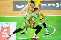 Alen Omic of Slovenia vs Cameron Bairstow of Australia during friendly basketball match between National teams of Slovenia and Australia, on August 4, 2015 in Arena Stozice, Ljubljana, Slovenia. Photo by Vid Ponikvar / Sportida