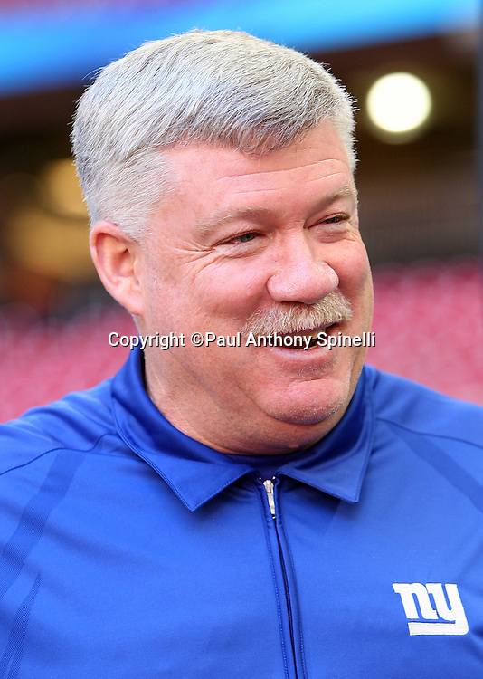 GLENDALE, AZ - JANUARY 29: Defensive Coordinator Kevin Gilbride of the New York Giants smiles as he speaks to the media at the Giants Super Bowl XLII Media Day at University of Phoenix Stadium on January 29, 2008 in Glendale, Arizona.©Paul Anthony Spinelli *** Local Caption *** Kevin Gilbride