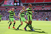 Forest Green Rovers Kaiyne Woolery(14) scores a goal 3-1 and celebrates during the Vanarama National League Play Off Final match between Tranmere Rovers and Forest Green Rovers at Wembley Stadium, London, England on 14 May 2017. Photo by Shane Healey.