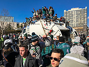 Eagles fans celebrate the 2018 Superbowl victory with a parade in Philadelphia, Pennsylvania, USA.
