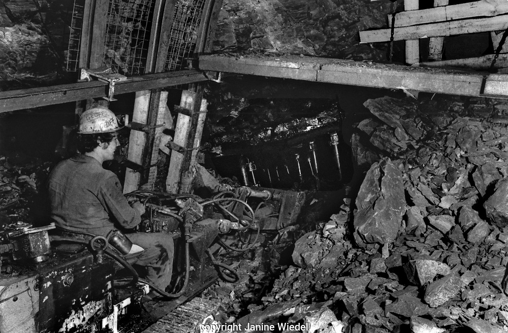 Drilling the face Florence Colliery Stoke on Trent  Staffordshire. 1970's