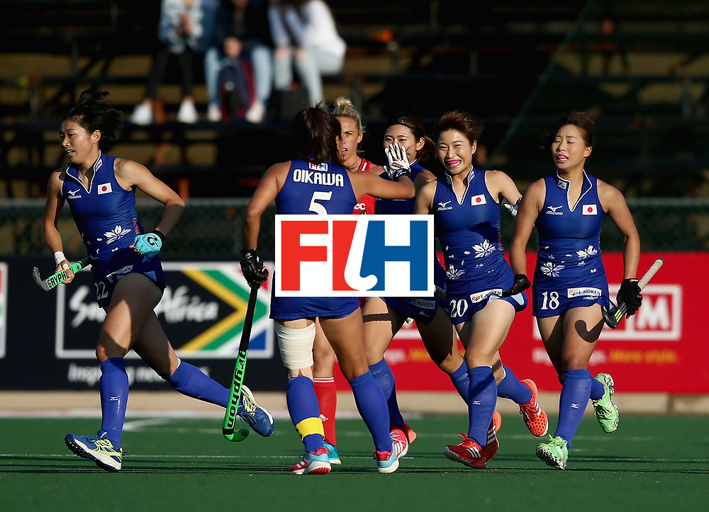 JOHANNESBURG, SOUTH AFRICA - JULY 12: Japan celebrates their teams first goal  during day 3 of the FIH Hockey World League Semi Finals Pool A match between Japan and England at Wits University on July 12, 2017 in Johannesburg, South Africa. (Photo by Jan Kruger/Getty Images for FIH)