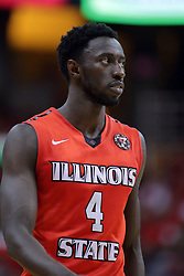 "22 February 2017:  Daouda ""David"" Ndiaye (4) during a College MVC (Missouri Valley conference) mens basketball game between the Southern Illinois Salukis and Illinois State Redbirds in  Redbird Arena, Normal IL"