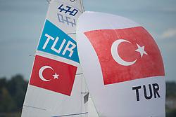 2012 Olympic Games London / Weymouth<br /> 470 Training race<br /> Cinar Ates, Cinar Deniz, (TUR, 470 Men)