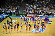 The teams are introduced to the crowd ~ Netball action from ANZ Championship Grand Final - Queensland Firebirds v Northern Mystics - played at the Brisbane Convention Centre on Sunday 22nd May 2011 ~ Photo : Steven Hight (AURA Images) / Photosport