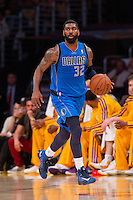 02 April 2013: Guard (32) O.J. Mayo of the Dallas Mavericks dribbles the ball up the court against the Los Angeles Lakers during the first half of the Lakers 101-81 victory over the Mavericks at the STAPLES Center in Los Angeles, CA.