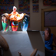 CUBA (La Habana). 2009. 'Orisha' (afro-cuban religion god)  in a craft shop in Old Habana.