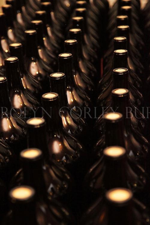 unlabeled magnum wine bottles. Saint Helena, California. Napa Valley