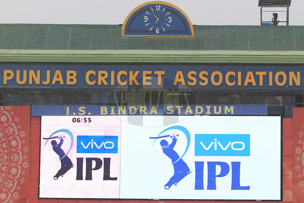 IPL logo during match 39 of the Vivo Indian Premier League ( IPL ) 2016 between the Kings XI Punjab and the Royal Challengers Bangalore held at the IS Bindra Stadium, Mohali, India on the 9th May 2016<br /> <br /> Photo by Arjun Singh / IPL/ SPORTZPICS