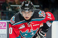 KELOWNA, CANADA - OCTOBER 1: Nick Merkley #10 of Kelowna Rockets faces off against the Vancouver Giants on October 1, 2014 at Prospera Place in Kelowna, British Columbia, Canada.   (Photo by Marissa Baecker/Shoot the Breeze)  *** Local Caption *** Nick Merkley;