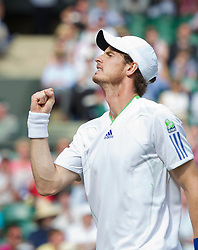 LONDON, ENGLAND - Wednesday, June 29, 2011: Andy Murray (GBR) celebrates winning a point during the Gentlemen's Singles Quarter-Final match on day nine of the Wimbledon Lawn Tennis Championships at the All England Lawn Tennis and Croquet Club. (Pic by David Rawcliffe/Propaganda)