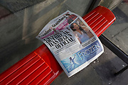 On the day that the UK Government's Chief Scientific Advisor, Sir Patrick Vallance said that the Coronavirus Covid-19 outbreak was now spreading person to person in the UK, a copy of the capital's London Evening Standard newspaper has been left at a bus stop outside Charing Cross railway station, on 6th March 2020, in London, England.