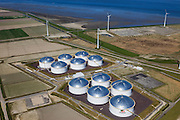 Nederland, Groningen, Eemshaven, 01-05-2013; Vopak Terminal Eemshaven met olieopslag in tanks. .Vopak Terminal in the Port of Eemshaven, oil storage in oil tanks..luchtfoto (toeslag op standard tarieven).aerial photo (additional fee required).copyright foto/photo Siebe Swart