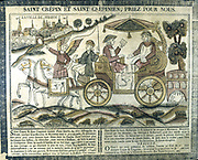 St Crispin and St Crispian, Roman brothers. Went to Soissons, France, 303 to spread gospel and supported themselves by shoemaking. Patron saints of shoemakers. Tools of trade on side of carriage and on cloth on horse. 19th century French coloured woodcut.