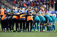 CHESTER, PA - MARCH 01: Germany's players huddle before the game. The United States Women's National Team played the Germany Women's National Team as part of the She Believes Cup on March 1, 2017, at Talen Engery Stadium in Chester, PA. The United States won the game 1-0.
