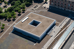 Looking down on Topography of Terror museum former site of Gestapo headquarters in Berlin, Germany