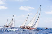 Saphaedra and Veritas sailing in the 2010 Antigua Classic Yacht Regatta, Windward Race, day 4.
